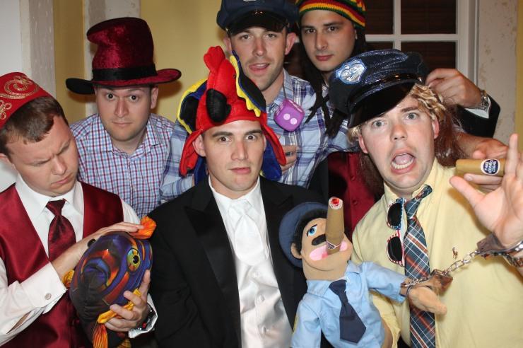 Groomsmen in Photobooth in Englewood