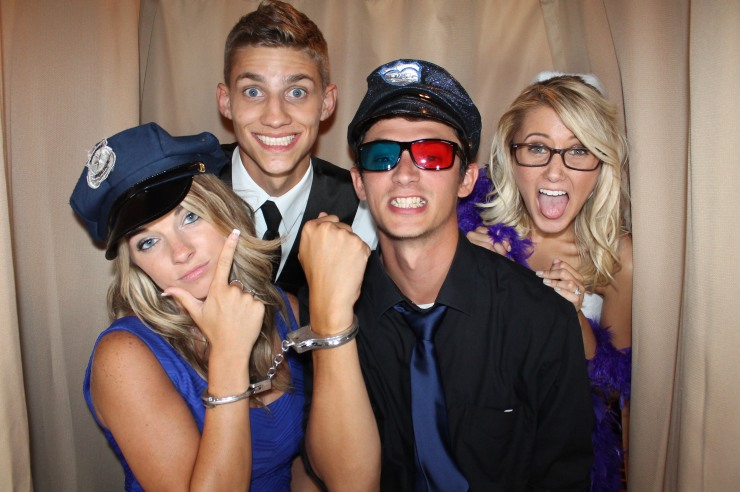 Bride and Groom with Friends in Venice Photo Booth